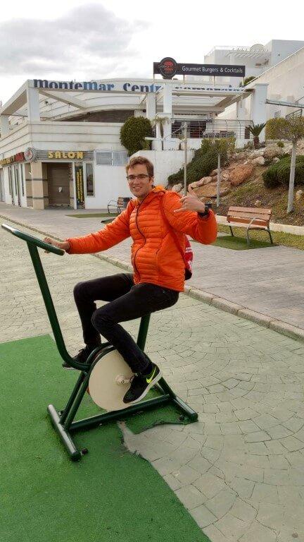 Mojacar 2017: Jean-Claude à vélo le jour de repos